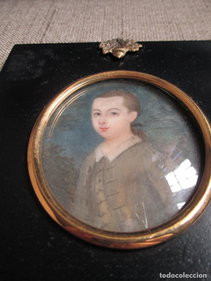 Arte: Acuarela sobre marfil, retrato en miniatura de niño XVIII. Escuela inglesa - Foto 6 - 75041555