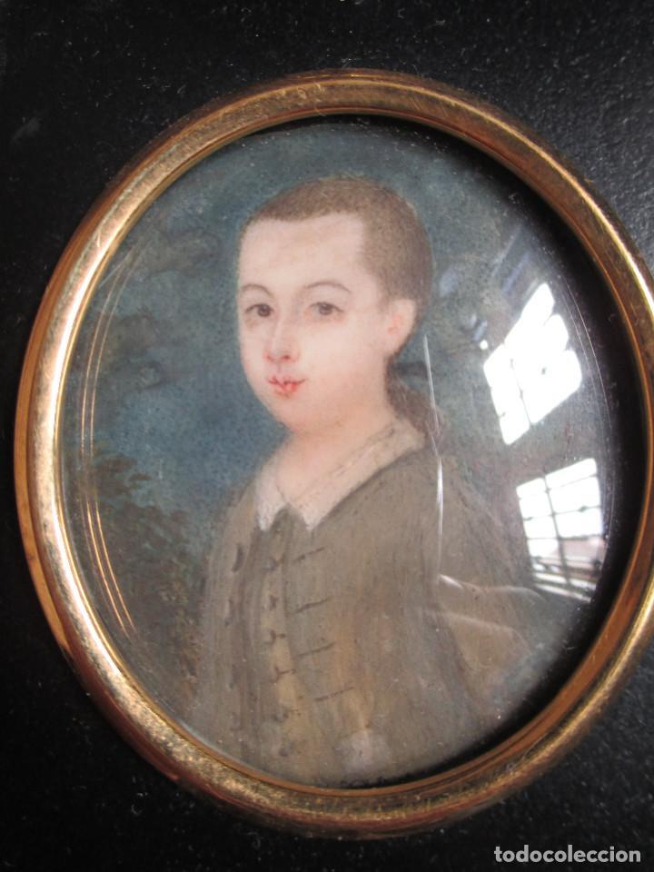 Arte: Acuarela sobre marfil, retrato en miniatura de niño XVIII. Escuela inglesa - Foto 7 - 75041555