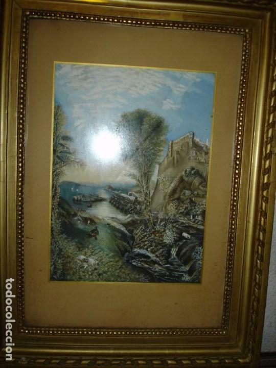 EXCEPCIONAL ACUARELA FIRMADA AUNQUE ILEGIBLE SIGLO XVIII FINAL O COMIENZOS XIX (Arte - Acuarelas - Contemporáneas siglo XX)