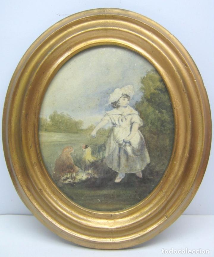 S. XVIII ANTIGUA PINTURA ACUARELA FRANCESA - NIÑA CON GALLINAS - MARCO DORADO (Arte - Acuarelas - Antiguas hasta el siglo XVIII)