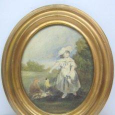 Arte: S. XVIII ANTIGUA PINTURA ACUARELA - NIÑA CON GALLINAS - MARCO DORADO. Lote 75413051