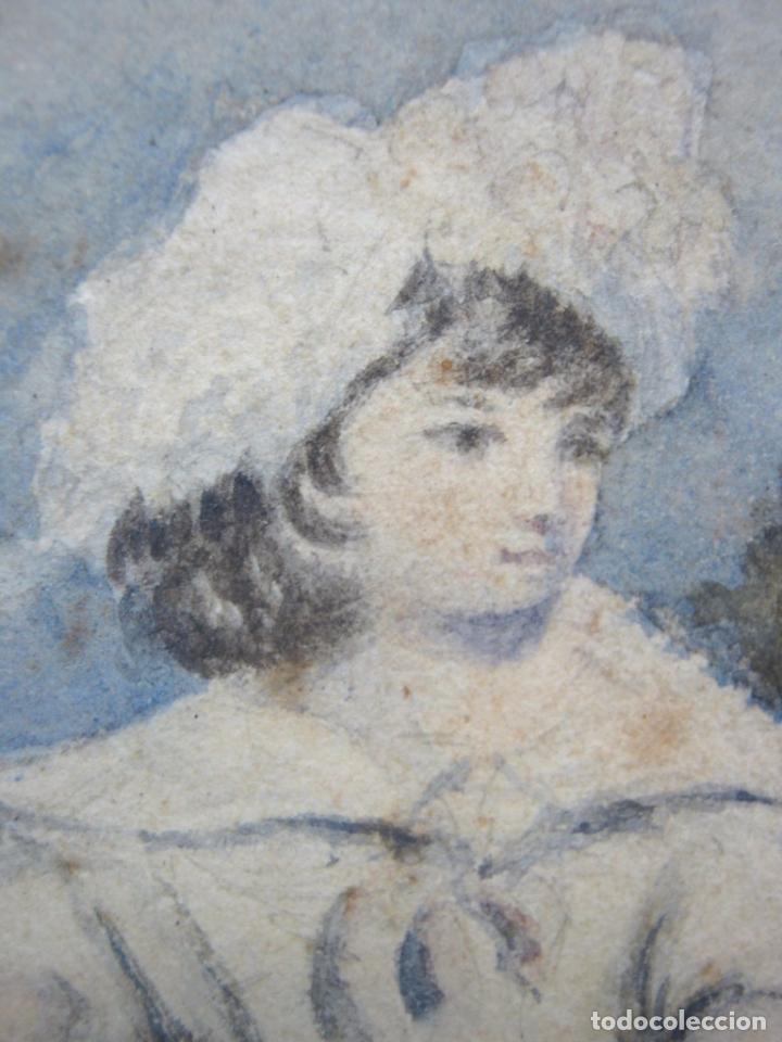 Arte: s. XVIII Antigua pintura acuarela - Niña con gallinas - marco dorado - Foto 3 - 75413051