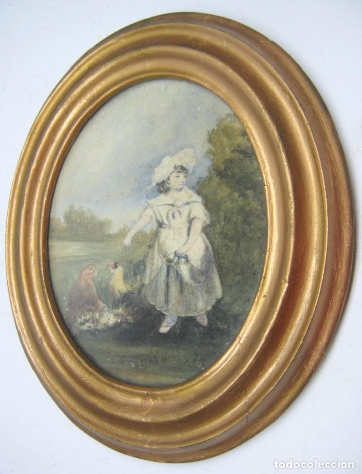 Arte: s. XVIII Antigua pintura acuarela - Niña con gallinas - marco dorado - Foto 4 - 75413051