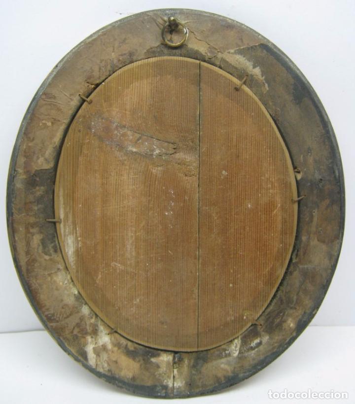 Arte: s. XVIII Antigua pintura acuarela - Niña con gallinas - marco dorado - Foto 5 - 75413051