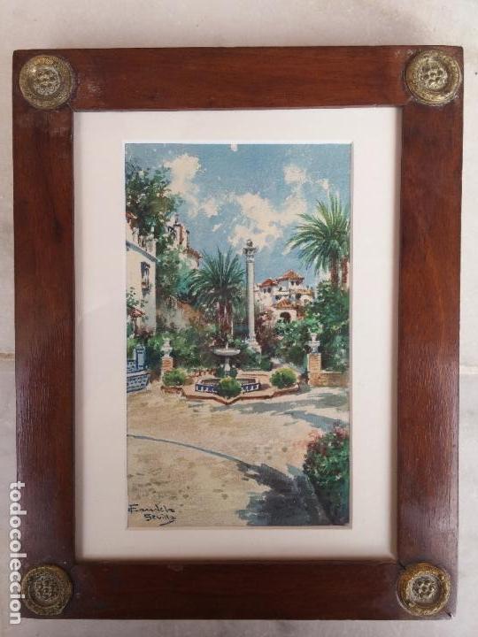 ANTIGUA ACUARELA DEL PINTOR FRANCISCO CANDELA SIGLO XIX ( PATIO DE SEVILLA ) (Arte - Acuarelas - Modernas siglo XIX)