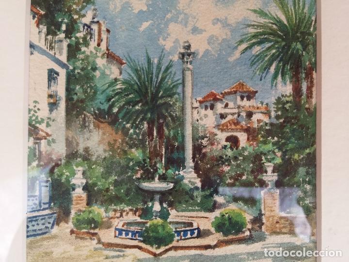 Arte: Antigua acuarela del pintor Francisco Candela siglo XIX ( patio de Sevilla ) - Foto 5 - 75422107