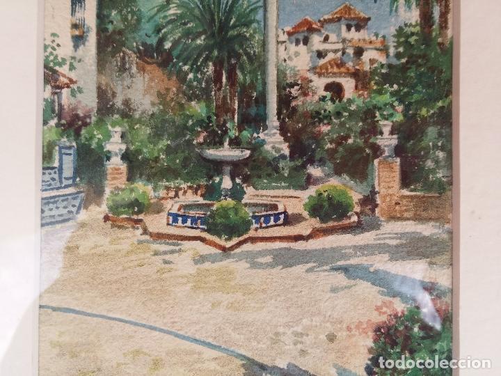 Arte: Antigua acuarela del pintor Francisco Candela siglo XIX ( patio de Sevilla ) - Foto 6 - 75422107
