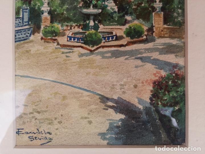 Arte: Antigua acuarela del pintor Francisco Candela siglo XIX ( patio de Sevilla ) - Foto 7 - 75422107