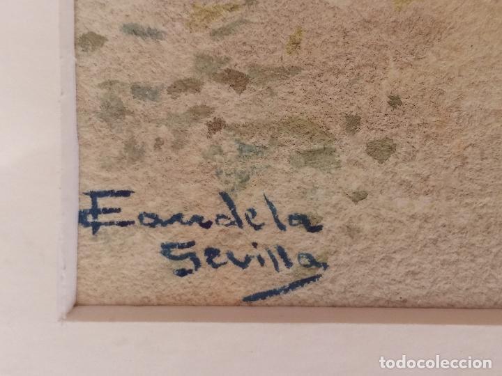Arte: Antigua acuarela del pintor Francisco Candela siglo XIX ( patio de Sevilla ) - Foto 8 - 75422107