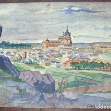 Arte: ACUARELA SOBRE CARTULINA, FIRMADO CRESPO, LA COVACHUELAS TOLEDO, 1917. Lote 75552831