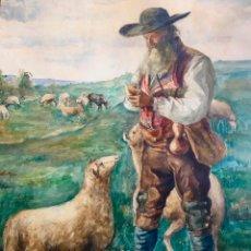 Arte: PASTOR. GRAN ACUARELA ANTIGUA. FECHADA EN 1888. FIRMA SEMI LEGIBLE. Lote 75824695