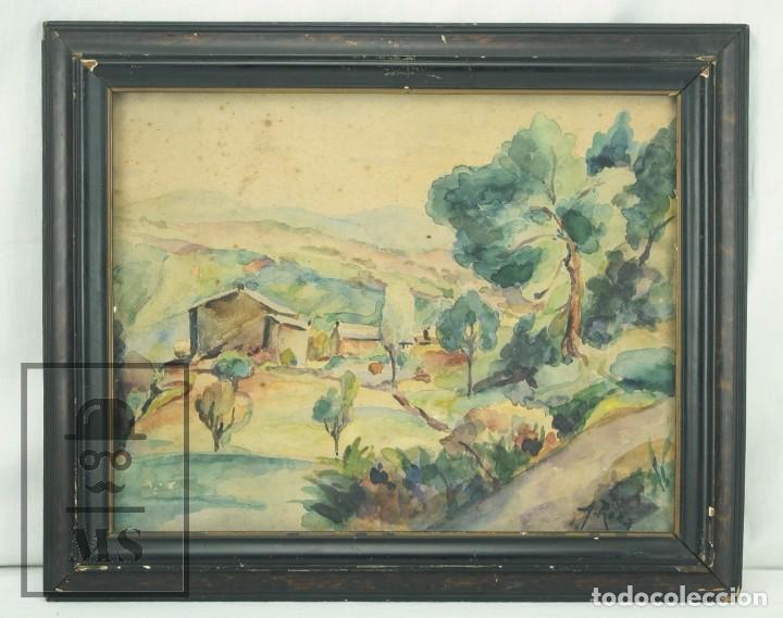 ACUARELA SOBRE PAPEL, ENMARCADA - PAISAJE RURAL. FIRMADA A. ROCA - MEDIDAS 46,5 X 38 CM (Arte - Acuarelas - Contemporáneas siglo XX)