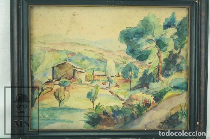 Arte: Acuarela Sobre Papel, Enmarcada - Paisaje Rural. Firmada A. Roca - Medidas 46,5 x 38 cm - Foto 2 - 75968999
