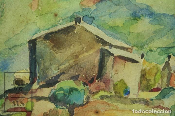 Arte: Acuarela Sobre Papel, Enmarcada - Paisaje Rural. Firmada A. Roca - Medidas 46,5 x 38 cm - Foto 3 - 75968999