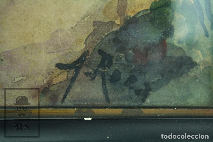 Arte: Acuarela Sobre Papel, Enmarcada - Paisaje Rural. Firmada A. Roca - Medidas 46,5 x 38 cm - Foto 4 - 75968999