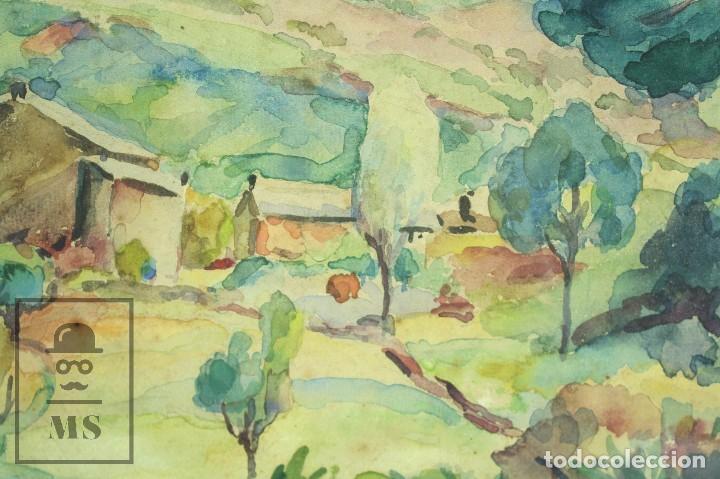 Arte: Acuarela Sobre Papel, Enmarcada - Paisaje Rural. Firmada A. Roca - Medidas 46,5 x 38 cm - Foto 6 - 75968999