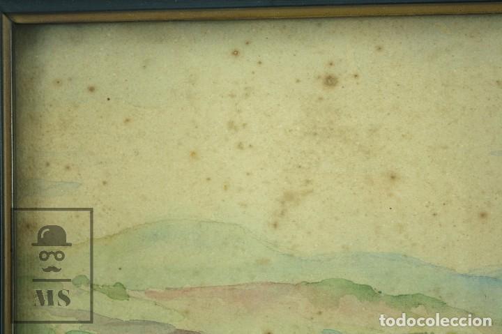Arte: Acuarela Sobre Papel, Enmarcada - Paisaje Rural. Firmada A. Roca - Medidas 46,5 x 38 cm - Foto 7 - 75968999