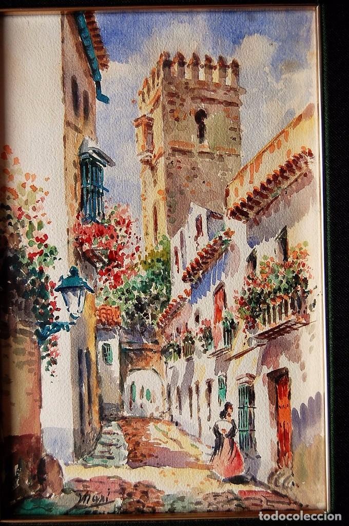 2X (PAREJA) - MAXI HUERTAS ( 1950'S ) - SEVILLA, BARRIO DE SANTA CRUZ (Arte - Acuarelas - Modernas siglo XIX)