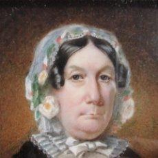 Arte: RETRATO EN MINIATURA DE DAMA INGLESA, DE 1850-60. ACUARELA Y GOUACHE SOBRE MARFIL. MARCO EXCELENTE.. Lote 76644383