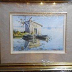 Arte - Marina en acuarela del autor contemporáneo Ramón Miralles Boscá que refleja dos barcas de pescadores - 76892751