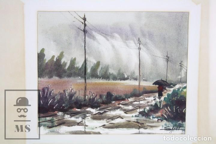 Arte: Acuarela Sobre Papel, Enmarcada - Paisaje Lluvioso - Firmada Slulpt ? - Medidas 46 x 41,5 cm - Foto 2 - 76954809