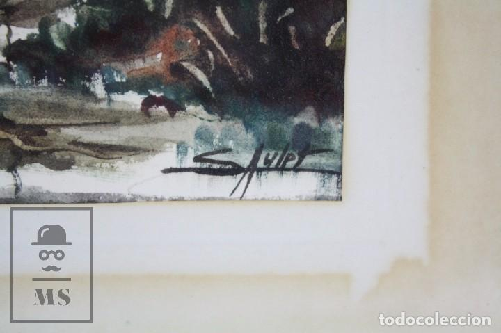 Arte: Acuarela Sobre Papel, Enmarcada - Paisaje Lluvioso - Firmada Slulpt ? - Medidas 46 x 41,5 cm - Foto 3 - 76954809