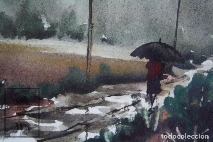 Arte: Acuarela Sobre Papel, Enmarcada - Paisaje Lluvioso - Firmada Slulpt ? - Medidas 46 x 41,5 cm - Foto 6 - 76954809