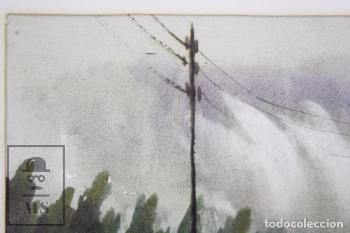 Arte: Acuarela Sobre Papel, Enmarcada - Paisaje Lluvioso - Firmada Slulpt ? - Medidas 46 x 41,5 cm - Foto 7 - 76954809