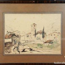 Arte: PAISAJE DE PUEBLO. DIBUJO A TINTA Y ACUARELA. EUSEBIO DIAZ COSTA. 1933. . Lote 77207809