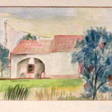 Arte: ACUARELA, PAISAJE CON CASA, 31X22CM, FIRMA POR IDENTIFICAR.. Lote 77459061