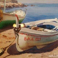 Arte: DANIEL BAS. ACUARELA SOBRE PAPEL. FIRMADA. SELLO DE LA GALERIA FOC ART GALERIA D'ART. Lote 77520761