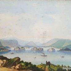 Arte: LAGO MAGGIORE. ISLAS BORROMEAS. ACUARELA SOBRE PAPEL. ITALIA. SIGLO XIX.. Lote 77956049