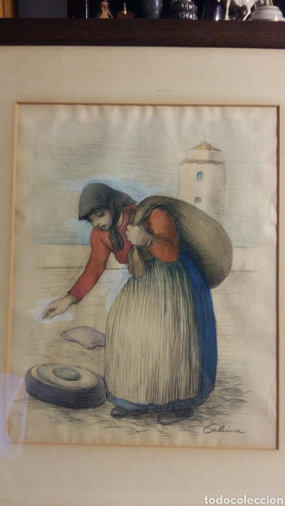 cuadro de ramón calsina baró mujer en la playa - Comprar Acuarelas ...