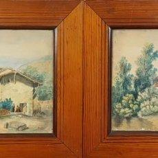 Arte: PAREJA DE PAISAJES. CASAS RURALES. TECNICA MIXTA SOBRE PAPEL. SIGLO XIX-XX. . Lote 78026765