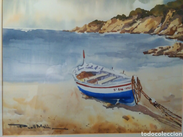 Arte: Calella de Palafrugell,firmado Puell Mela, pintor nacido en Sabadell 1953 - Foto 2 - 78066307