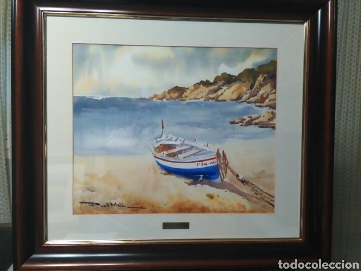 Arte: Calella de Palafrugell,firmado Puell Mela, pintor nacido en Sabadell 1953 - Foto 3 - 78066307