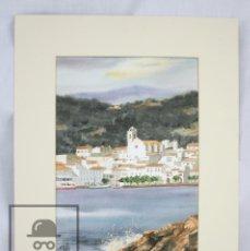 Art: ACUARELA SOBRE PAPEL CON PASPARTÚ - VISTA DE PORT DE LA SELVA, R. VILALTA - MEDIDAS 38 X 48 CM. Lote 78217537