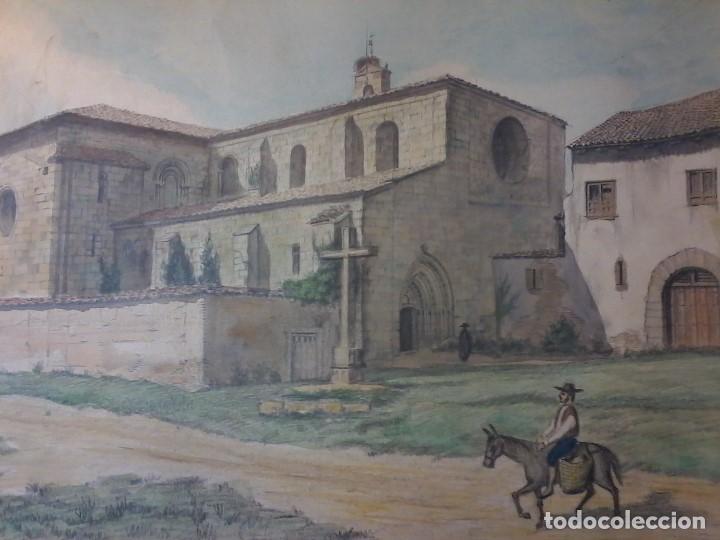 MONASTERIO DE VILLAVERDE DE SANDOVAL - MANSILLA DE LAS MULAS - LEON - ACUARELA (Arte - Acuarelas - Contemporáneas siglo XX)
