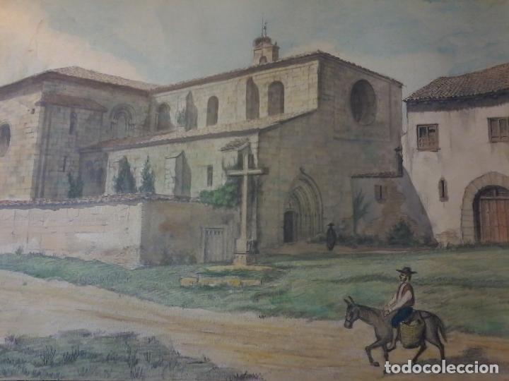 Arte: MONASTERIO DE VILLAVERDE DE SANDOVAL - MANSILLA DE LAS MULAS - LEON - ACUARELA - Foto 2 - 78459941