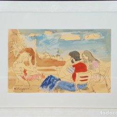 Arte: CAFE EN UNA TERRAZA. ACUARELA SOBRE PAPEL. FIRMAFO FEDERICO LLOVERAS. 1975. . Lote 78534429