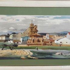 Arte: PAISAJE DE AZARA. ARAGON. ACUARELA SOBRE PAPEL. FEDERICO LLOVERAS. 1981. . Lote 78570361