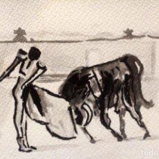 Arte: PEQUEÑA ACUARELA SOBRE PAPEL, CON MOTIVOS TAURINOS. 25X18CM. Lote 78943493