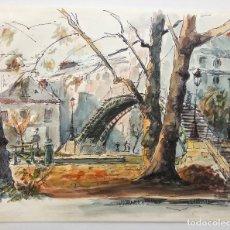 Arte: EXCELENTE ACUARELA ORIGINAL, ESCENA PARISINA, MARAVILLOSA PINCELADA, FIRMADO G. LEROUX. Lote 79010121