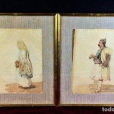Arte: HOMBRE Y MUJER CON TRAJE TRADICIONAL OTOMANO(?). ACUARELA. ANÓNIMO. EUROPA. XIX. Lote 79285081