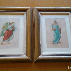 Arte: 2 ACUARELAS ORIGINALES DE EVA ALUMÀ, COPIA DE LOS PERSONAJES DE LA ANUNCIACIÓN DE L.DI CREDI AÑOS 50. Lote 79870201