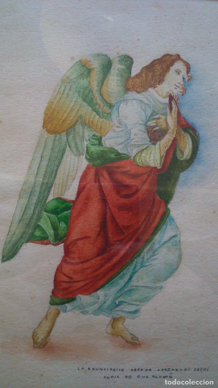 Arte: 2 acuarelas originales de Eva Alumà, copia de los personajes de La Anunciación de L.di Credi años 50 - Foto 2 - 79870201