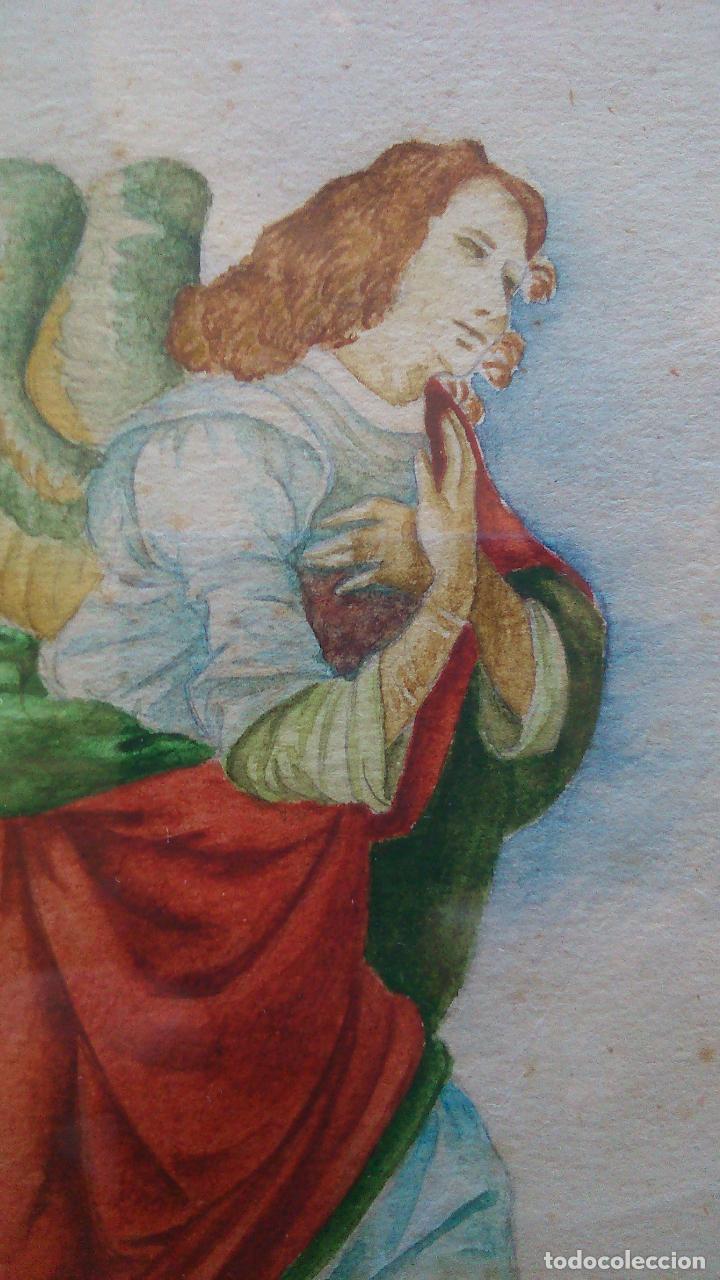 Arte: 2 acuarelas originales de Eva Alumà, copia de los personajes de La Anunciación de L.di Credi años 50 - Foto 3 - 79870201