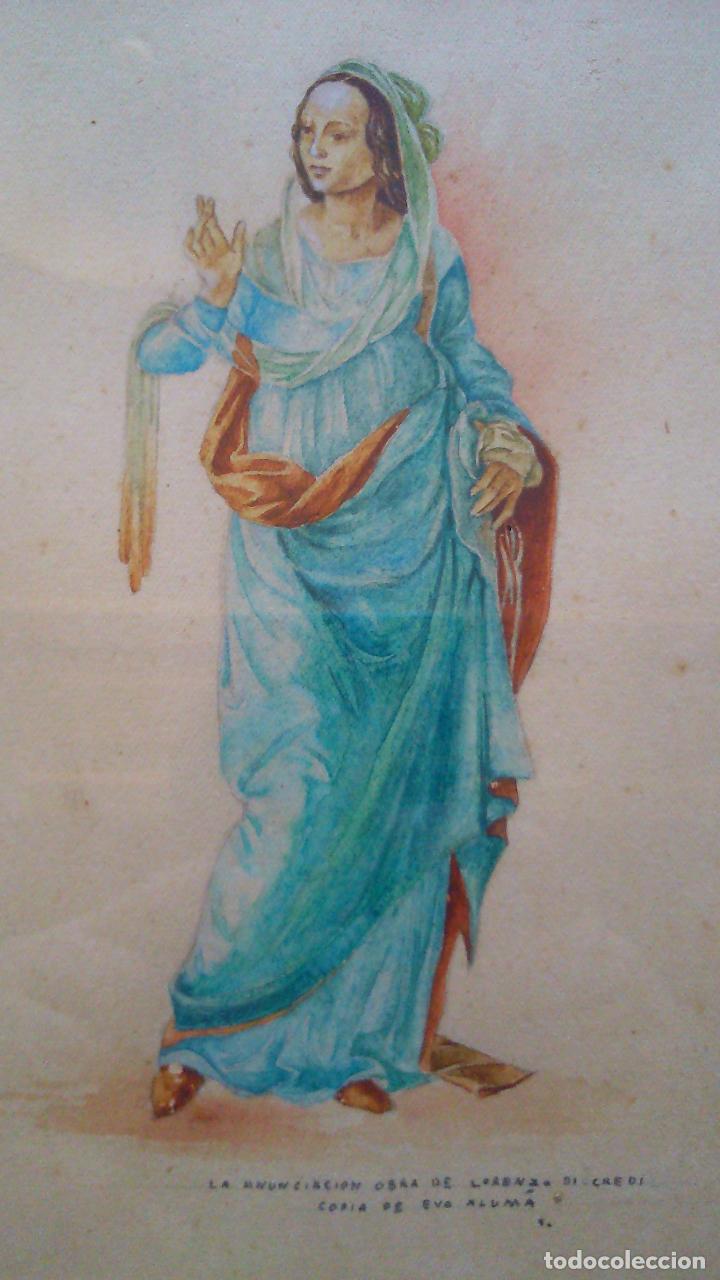 Arte: 2 acuarelas originales de Eva Alumà, copia de los personajes de La Anunciación de L.di Credi años 50 - Foto 4 - 79870201