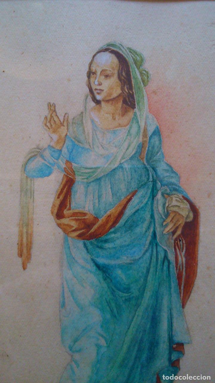 Arte: 2 acuarelas originales de Eva Alumà, copia de los personajes de La Anunciación de L.di Credi años 50 - Foto 5 - 79870201