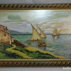 Arte: ACUARELA PAISAJE MARINO PESCADORES VASCOS - FIRMADO LLG - ENERO 1943 - 31X21 CM -. Lote 80707910